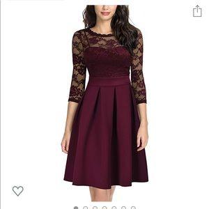 1950s Vintage Pleated Lace Purple Dress